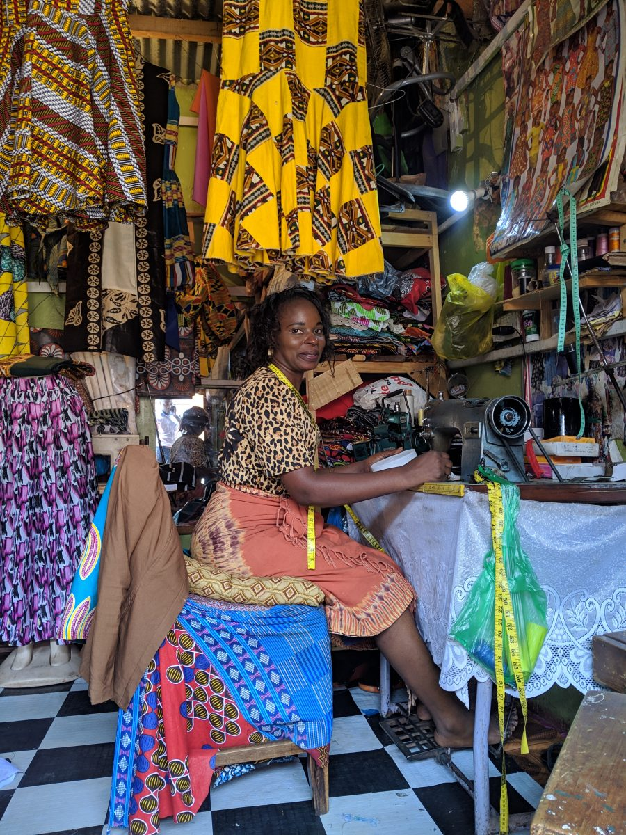 a tailor in her shop